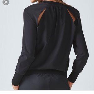 NWT Fabletics Lola long sleeve black top
